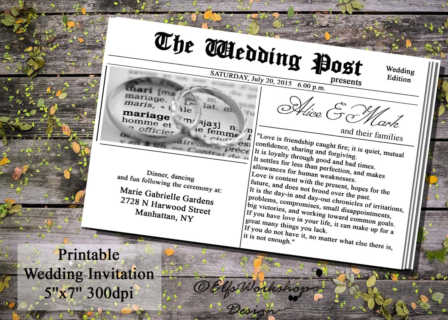 Newspaper Invitation Newspaper Wedding Invitation Printable