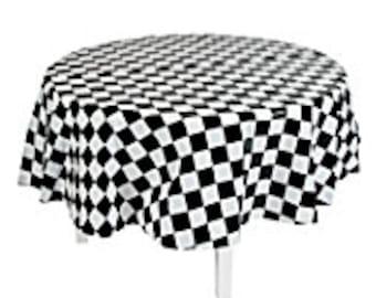 Black U0026 White Checked Race Car Flag Round Plastic Tablecloth