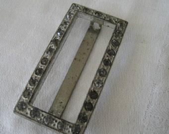 VINTAGE Rectangle Rhinestone in Silver Metal Belt BUCKLE