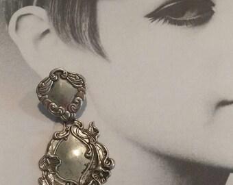 Art Deco Look Dangle Earrings, Silver tone, Post style earrings