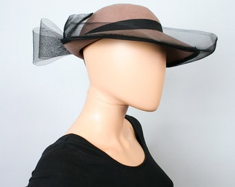 Vintage Wool Felt Hat / Light Brown Fedora / Black Veil Net Big Bow Hat / 1980s Hat / 80s Brimmed Hat / Designer Michael Howard