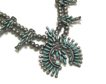 Turquoise Zuni Needlepoint Necklace Sterling Lucy Wytsa