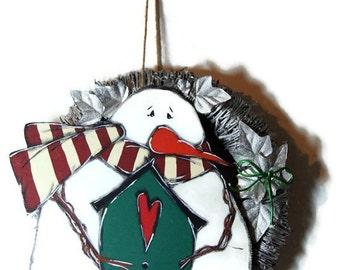 Wreath with snowman - Winter silver wreath