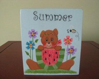 Summer block shelf sitter, shelf sitter, summer decor, summer tole painting, wood, gift for her, hostess gift