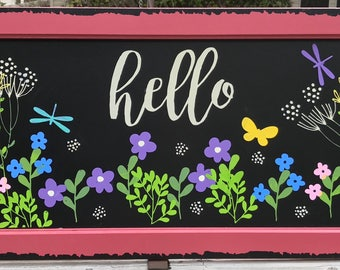Spring is the Air, Chalk Couture, Flowers, Hello, Butterflies, Dragonflies sign