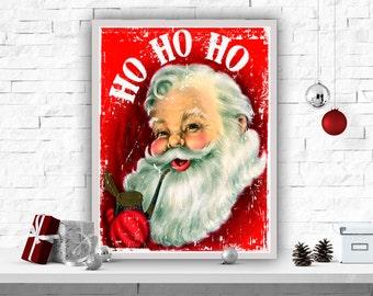 """Instant Download Printable Art Christmas Art Print Santa Poster Wall Decor Christmas Art Poster Home Decor Santa Print """"Ho Ho Ho"""""""