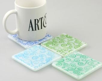 Cool Swirl Fused Glass Coasters , Home Decor Housewares Set of 4  Fused Glass Art  Hostess Gift  Home Decor, GetGlassy