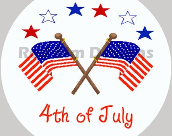 "4th Of July Stickers, Flag Stickers, Independence Day Stickers - Sheet of 20 - 2"" round.  Party Favors.  2 Inch Round"