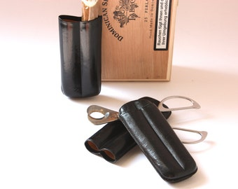 2 cigar travel cases leather for each 2 cigars /  etuis / smoking accessory / utensil / mens gift / indulgence smoking / black
