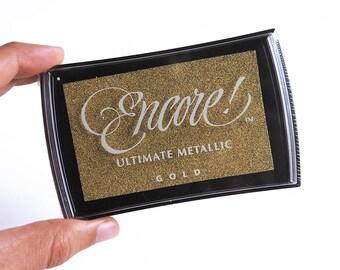 gold ink pad, metallic ink pad, Encore gold stamp pad, encore ultimate metallic gold, gold metallic ink pad, Tsukineko gold ink, encore ink