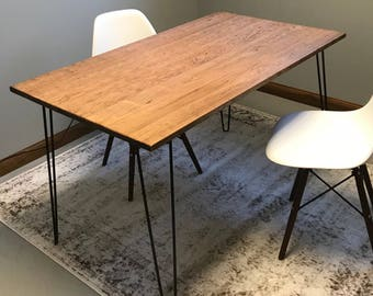 Hairpin Leg Desk - Wood Desk - Midcentury Modern Desk - Office Desk - Modern Office Furniture - Rustic Desk - Hairpin Leg Furniture