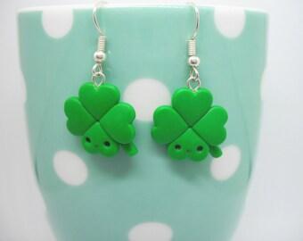 Four leaf clover polymer clay earrings