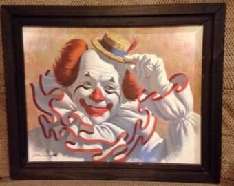 Vintage Elmo the Clown Lithograph Artist Arthur Sarnoff Framed