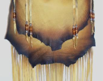 "Designer Fringed Leather Purse ""CORONA GOLD"" Fringe Handbag Artisan Hippie Retro Beaded Bag Handmade by Debbie Leather"