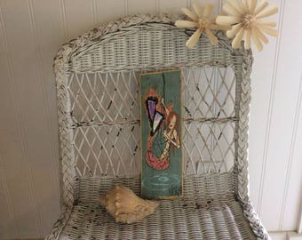 Vintage Wall Hanging, Artisan Made Mermaid Wood Folk Art, Signed, Exc. Condition