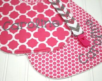 Personalized Baby Girl Gift Set - Baby Girl Shower Gift, Bib, Monogram Burp Cloth, Pacifier Clip,  Pink and Gray Baby, Monogram Baby
