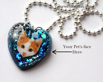 little girl jewelry, kids cats photo necklace, customized pet kitten necklace glitter heart charm pendant necklace, resin heart, by isewcute