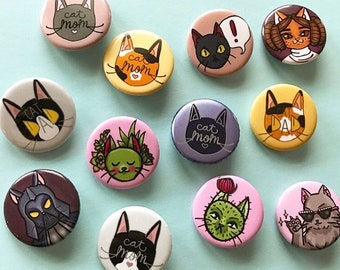Kitty Flair Buttons | cats | pinback button | crazy cat lady |