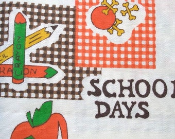 School days Fabric Vintage Yardage Sewing Supply Sew quilt Retro Kids Childrens 70s Decor Pattern 2 plus yards