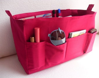 Large Purse organizer -Bag organizer insert with iPad sleeve in Poppy fabric