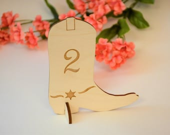 """4"""", Table Numbers, Cowboy Boot, Country Table Numbers, Wedding Table Numbers, Rustic Wedding Centerpiece, Western Party Decor, Reception"""
