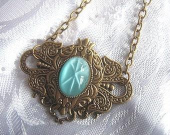 Vintage Style Antiqued Brass Pendant Necklace With Aqua Starburst Cabochon, Aqua Necklace, Filigree Brass Necklace, Victorian Style Necklace