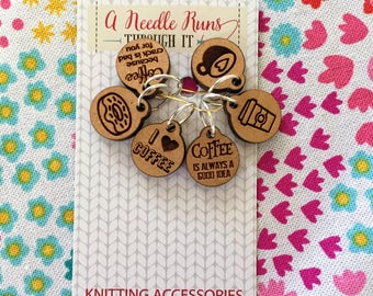 I love Coffee Knitting Stitch markers set, coffee cup, donut, snag free stitch markers