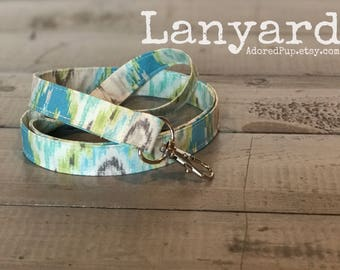 FABRIC LANYARDS!!  Fabric Lanyard with Swivel Clasp - Aqua Aztec Lanyard, Great Teacher Gift, Co-Worker, Business, Bridal Party