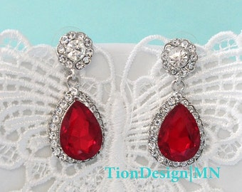 Mother's Day Sale Retro Red Earrings, Bridal Dangle Teardrop Earring, Evening Prom Crystal CZ Zirconia Drop Luxury Earrings 2709-RED
