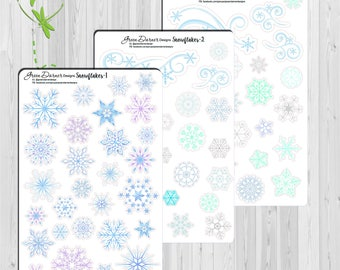 Snowflakes and Flourishes | Christmas/Winter  Planner Stickers Erin Condren (ECLP) Recollections/Happy Planner by Green Darner Designs