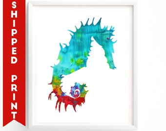 PRINT Seahorse print, Gender Neutral Nursery Wall Art, Ocean Themed Nursery, Sealife, Sea Creatures Art, Red Blue Nursery Art