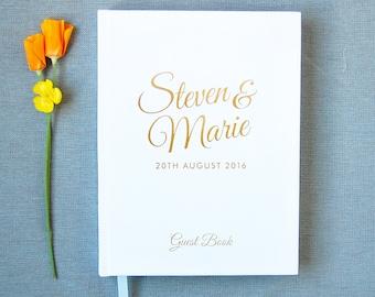 Wedding Guest Book #33 - Custom Hardcover Guest Book - Wedding Guestbook, Personalized Guest Book - Gold Calligraphy