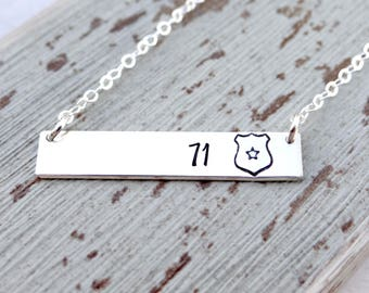 Personalized Police Badge Bar Necklace - Shield and Badge Number. Police Wife, Law Enforcement Jewelry. Sheriff's Badge.