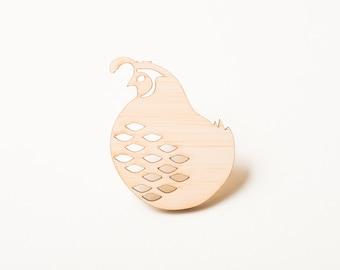 Bird Brooch, Bird Pin, Quail Pin, Wood Jewelry