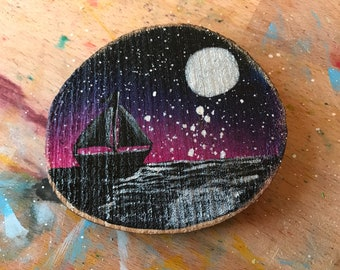 Hand painted starry night boat silhouette