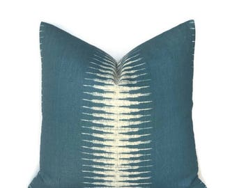 Peter Dunham Ikat Pillow Cover in Peacock, Decorative Throw Pillow, Sofa Pillows, Blue Pillows, Home Decor