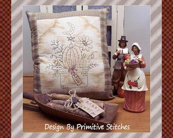 Fall Plantings-Primitive Stitchery  E-PATTERN by Primitive Stitches-Instant Download