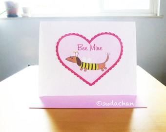 Dachshund Valentine's Day Card - Bee Mine (Set of 10)