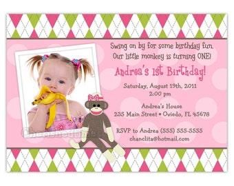 Sock Monkey Argyle Boy Or Girl Birthday Invitation -Any Color- Digital File