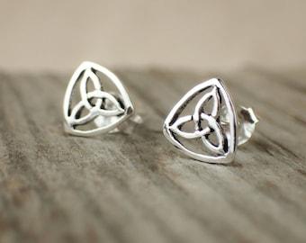 925 Sterling Silver Stud Earrings Celtic Triskel