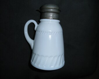 Vintage EAPG Milk Glass Syrup Pitcher