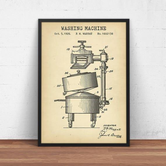 Washing machine patent print digital download blueprint art malvernweather Image collections