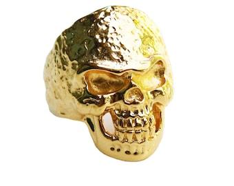 18K Gold Bonded Skull Ring, Hammered Skull Ring for Men