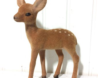Sweet Vintage Flocked Deer