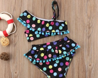 Beautiful swimsuit girl tassels and multicolor dots trendy