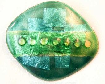 Objet D'Art 1960s Green & Teal Pin Converts to Pendant - Spring Green Beatnik Brooch - Artsy Craftsy Decoupage - 60s Glossy Enamel - 38371