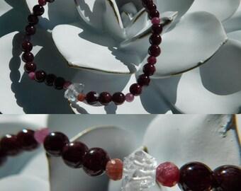 Ruby Garnet Herkimer Diamond Bracelet