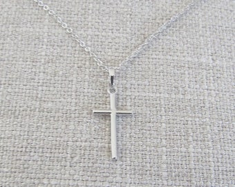 Silver Plated Cross Necklace 18K Silver Cross Pendant for Gift for First Communion Confirmation Christian Jewelry Religious Jewelry Necklace