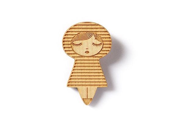 Sailor doll brooch - striped kokeshi brooch - kawaii matriochka pin - illustrated brooch - cute geometric doll jewelry - lasercut maple wood