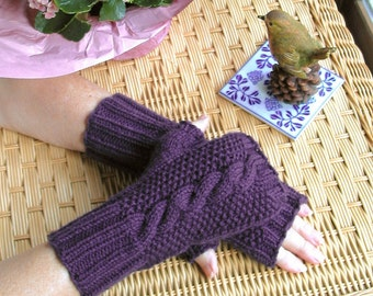 Purple Fingerless Cable Texting Gloves - Pure Wool Handwarmers in Royal Purple